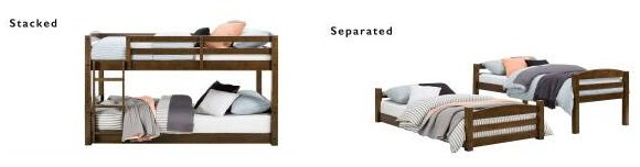 Bellmead Twin over Twin Low Bunk Bed, by Greyleigh stacked or detached beds