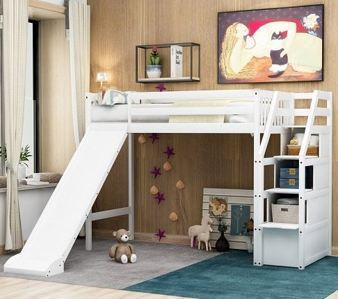 Ackryod Twin High Loft Bed with slide, by Harriet Bee