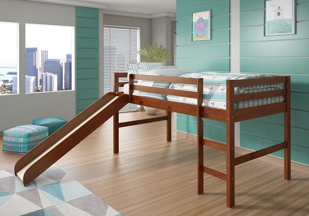 Donco Twin Low Loft Bed with Slide espresso
