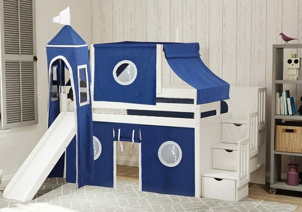 Johannes Castle Twin Low Loft Bed with 3 Drawers, Slide and Tent, by Zoomie Kids
