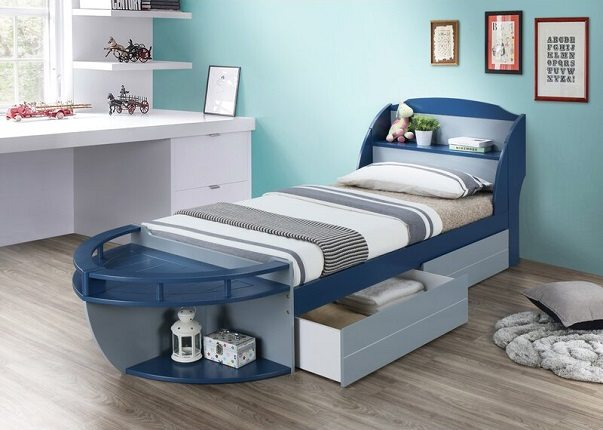 Kincade Twin Platform Boat Bed with Drawers and Shelves, by Zoomie Kids