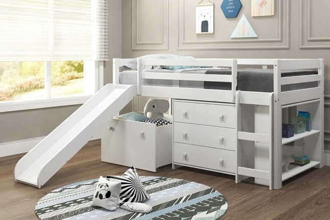 Renley Low Loft Bed with Slide, Drawer and Bookcase, by Harriet Bee