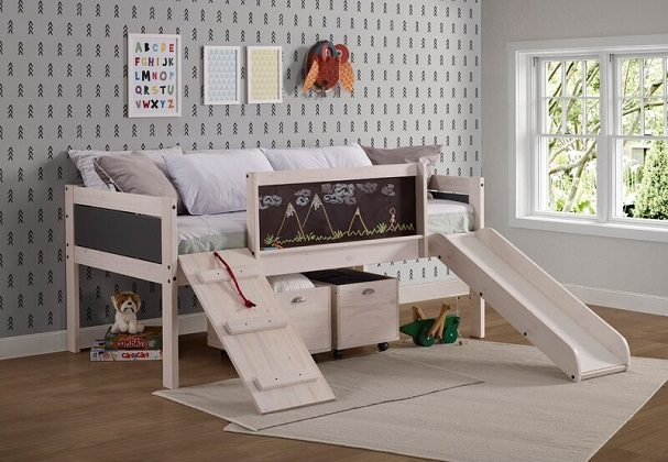 Schmid Twin Low Loft Bed with Slide, by Zoomie Kids