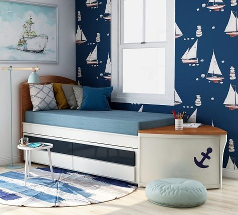 Zyon Novelty White Twin Solid Wood Nautical Bed and Trundle, by Furniture of America